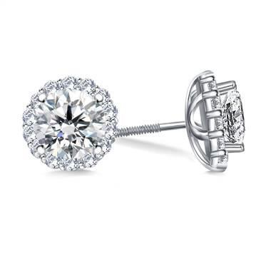 2 Carats Round Halo Diamond Stud Earring White Gold Jewelry New Halo Stud Earrings
