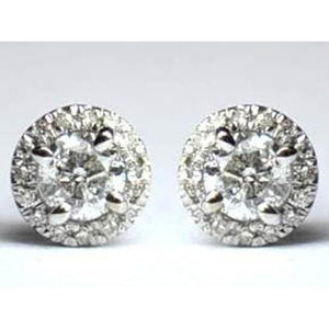 2 Carats Round Halo Diamond Stud Earring Women Gold Jewelry Halo Stud Earrings