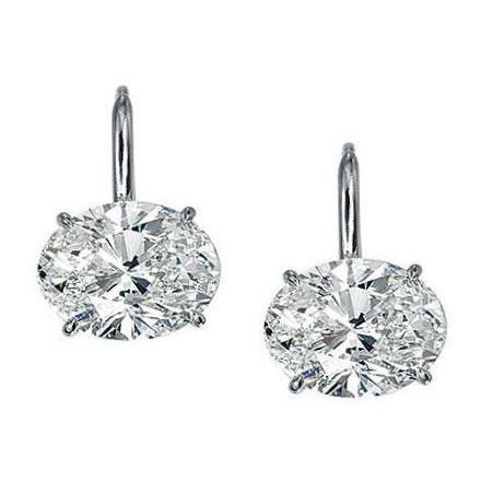 2 Carats Solitaire Oval Cut Diamond Drop Earring Gold White 14K Drop Earrings