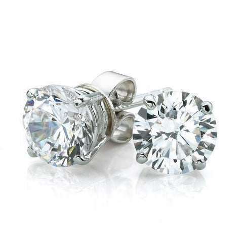 2 Carats Solitaire Round Brilliant Cut Diamond Stud Earring White Gold 14K Stud Earrings
