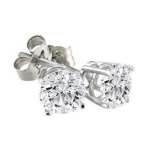 2 Carats Solitaire Round Diamond Stud Earring White Gold 14K Stud Earrings