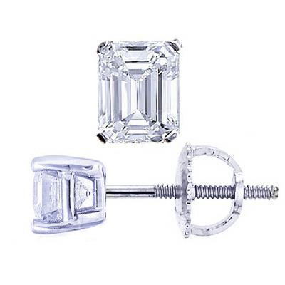 2 Carats Sparkling Emerald Cut Diamond Studs Earring Stud Earrings