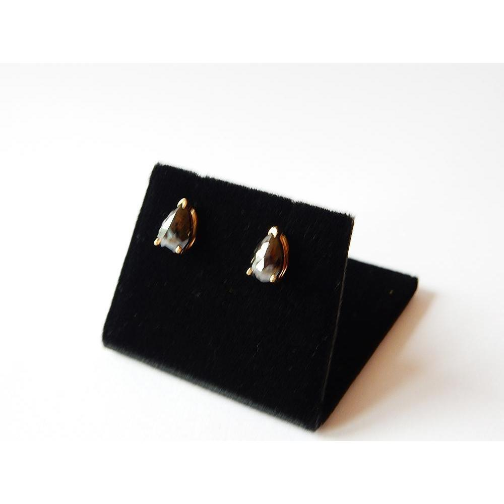 2 Carats Stud Earrings Pear Black Diamonds Black Nice Yellow Gold Finish Stud Earrings