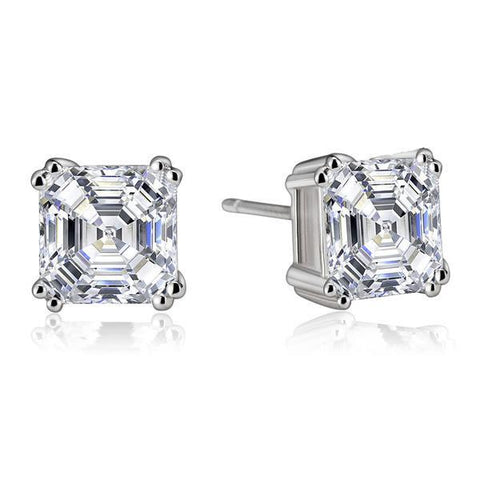 2 Ct Asscher Cut Diamond Stud Earring Pair Solid White Gold Jewelry Stud Earrings