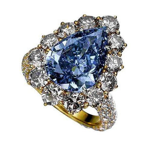 2 Ct. Blue Pear Diamonds Ring Yellow Gold New Ring