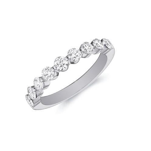 2 Ct Brilliant Cut Diamond Wedding Band 14K White Gold Half Eternity Band