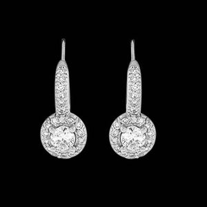 2 Ct Diamond Dangle Pair 14K White Gold Hanging Earring Drop Earrings