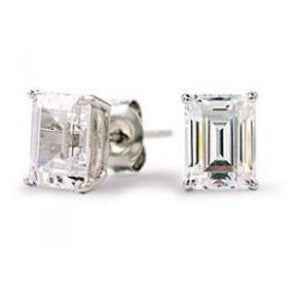 2 Ct Emerald Cut Solitaire Diamond Stud Earring Solid White Gold Stud Earrings