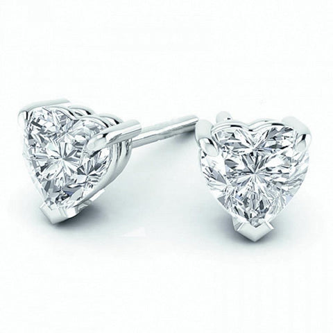 2 Ct Heart Cut Diamond Women Stud Earring Solid White Gold Jewelry Stud Earrings