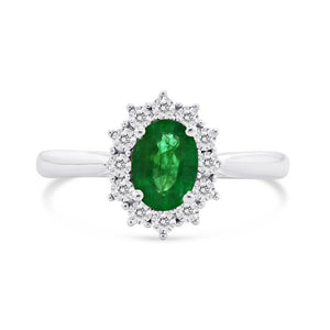 2 Ct Oval Shaped Green Emerald And Diamond Wedding Ring White Gold 14K Gemstone Ring
