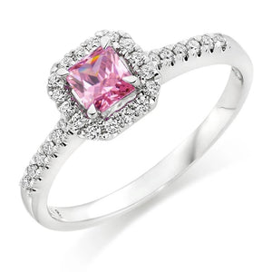2 Ct Pink Sapphire And Diamond Ring 14K White Gold Gemstone Ring