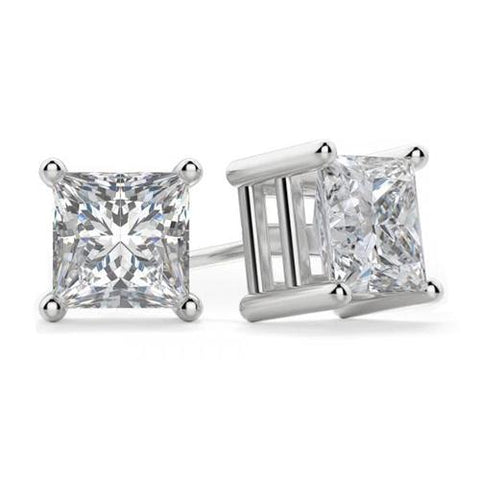 2 Ct.  Princess Cut Diamond Stud Earring 4 Prong Setting White Gold Stud Earrings