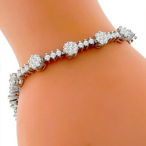 2 Ct Round Brilliant Cut Diamond Tennis Bracelet 14K White Gold Tennis Bracelet