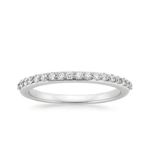 2 Ct Round Brilliant Cut Diamond Wedding Band 14K White Gold Half Eternity Band