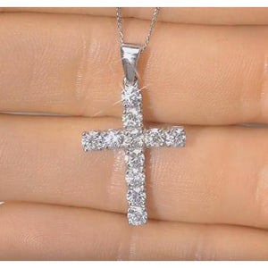 2 Ct Round Diamond Ladies Cross Pendant Jewelry Pendant