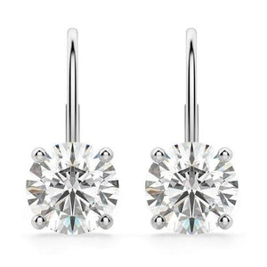 2 Ct Round Prong Set Solitaire Diamond Leverrback Women Earring White Gold 14K Leverback Earrings