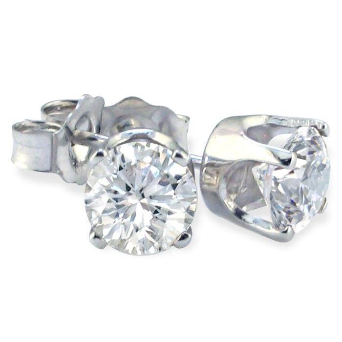 2 Ct Solitaire Round Studs Diamond Earring White Gold 14K Stud Earrings