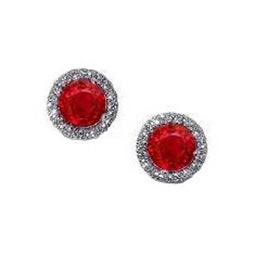 2.50 Ct Red Ruby Diamond Stud Halo Earring White Gold 14K