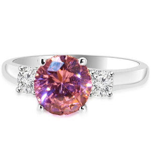 2.50 Carats Round Cut Pink Sapphire Three Stone Ring Gold White 14K