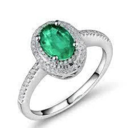 2.5 Ct Green Oval Cut Emerald And Diamond Wedding Ring White Gold 14K