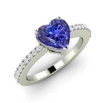 2.50 Carats Heart Cut Blue Tanzanite And Round Diamond Anniversary Ring