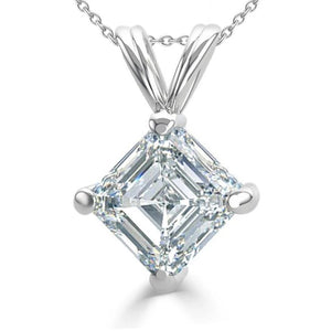 2.5 Ct Solitaire Asscher Cut Diamond Pendant White Gold Fine Jewelry