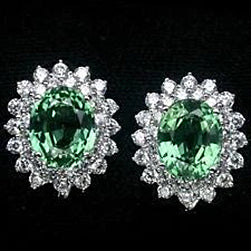 2.60 Carats Oval Cut Halo Green Sapphire And Diamond Stud Earring