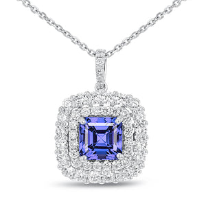 2.75 Carats Blue Tanzanite With Diamonds Pendant Necklace Gold White