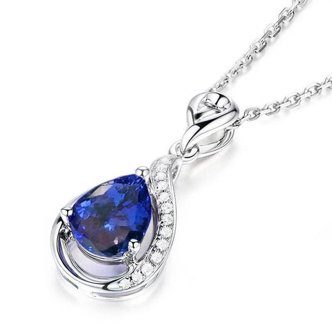2.80 Ct. Tanzanite With Diamonds Pendant Necklace With Chain White