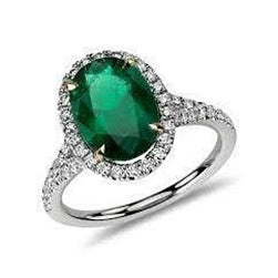 2.95 Carats Oval Cut Green Emerald With Diamond Ring White Gold 14K