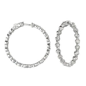 20 Pointer Diamond Hoop Earring 6.80 Carat Round Diamond White Gold Jewelry Hoop Earrings