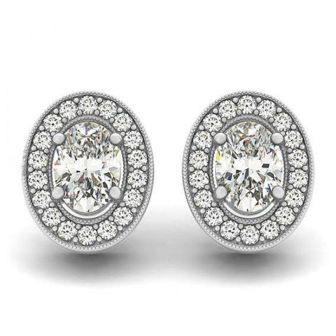 2.00 Carats Oval Diamonds Halo Studs Pair Earrings White Gold 14K Halo Stud Earrings