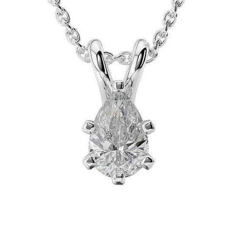 2.00 Carats Pear Cut Diamond Solitaire Pendant Solid White Gold 14K Jewelry Pendant
