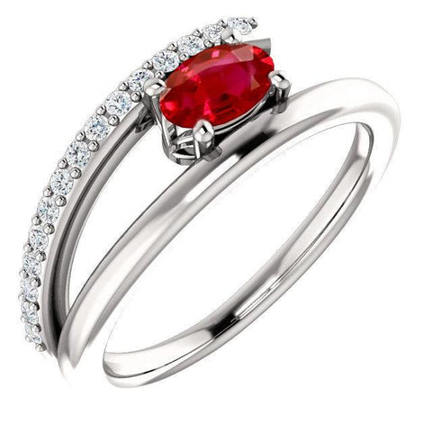 2.00 Carats Red Ruby With Diamonds Ring White Gold 14K Gemstone Ring