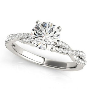 2.00 Carats Round Diamonds Solitaire With Accents Ring Gold White 14K Solitaire Ring with Accents