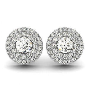 2.00 Carats Round Diamonds Studs Halo Pair Earrings White Gold 14K Halo Stud Earrings