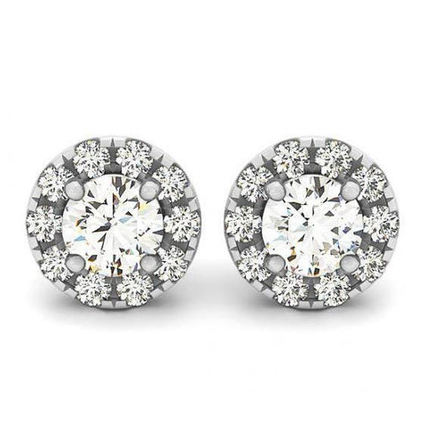 2.00 Carats White Gold Round Diamonds Halo Stud Earrings Pair Halo Stud Earrings