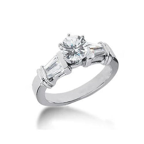 2.01 Carat Baguette Diamonds Anniversary Solitaire With Accents Ring Gold Three Stone Three Stone Ring