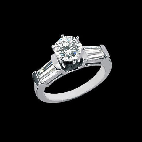 2.01 Carat Diamonds Three Stone Style Engagement Ring Round Baguette Three Stone Ring