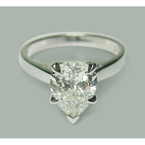2.01 Carat Pear Diamond Solitaire Engagement Ring White Gold 14K Jewelry New Solitaire Ring