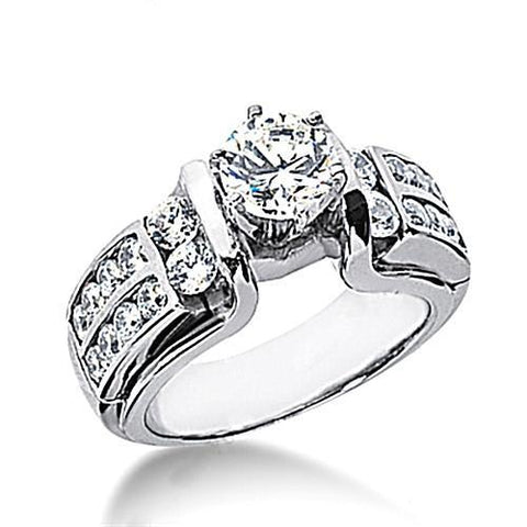2.01 Carat Round Diamond Solitaire With Accents White Gold Solitaire Ring with Accents