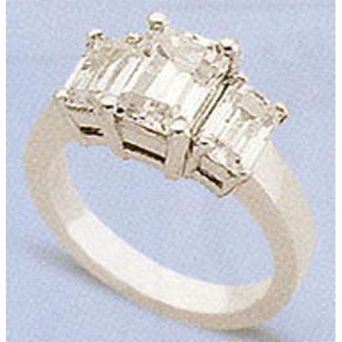 2.01 Carats F Vs1 Diamond Three Stone Ring Emerald Cut Three Stone Ring