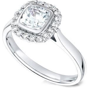 2.01 Ct Halo Diamonds Ring Cushion And Round Cut Diamond White Gold 14K Bezel Set Halo Ring