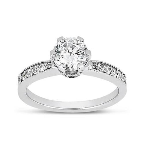 2.02 Ct Round Diamonds Solitaire With Accents Ring Solitaire Ring with Accents