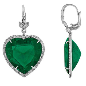 21 Ct Heart Cut Green Emerald With Diamond Dangle Earring White Gold 14K Gemstone Earring