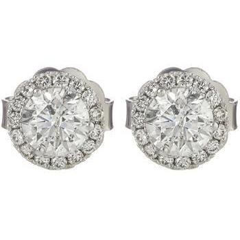 2.1 Ct Round Cut Halo Diamond Stud Earring 14K White Gold Halo Stud Earrings
