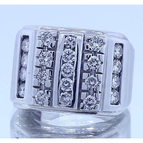 2.10 Carats Gents Ring Round Diamonds White Gold 14K Vs1 F Mens Ring