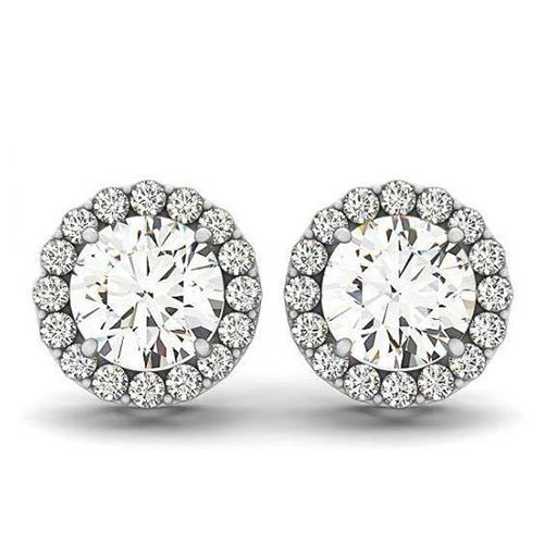 2.10 Carats Round Diamonds White Gold 14K Studs Pair Halo Earrings Halo Stud Earrings