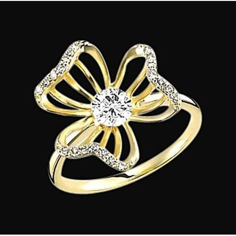 2.10 Ct. Diamond Flower Design Engagement Ring Yellow Gold Engagement Ring