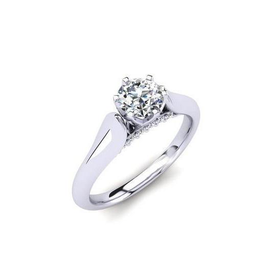 2.10 Ct Solitaire With Accent Diamonds Engagement Ring White Gold 14K Solitaire Ring with Accents